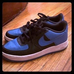 Nike Air Force ones black and blue